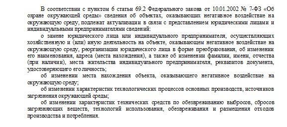 Актуализация сведений об ОНВОС