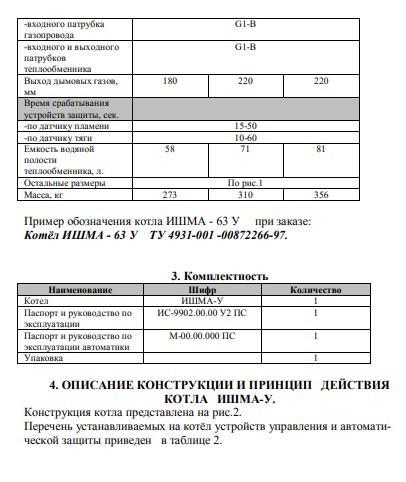 Котел Ишма паспорт
