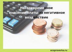 Несвоевременное внесение платы за негативное воздействие