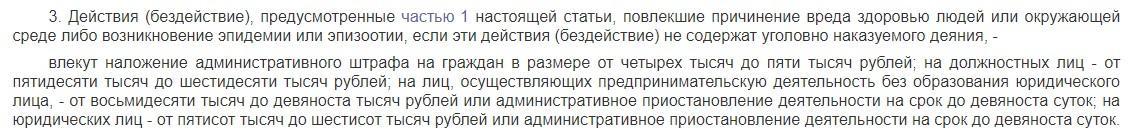 часть 3 статьи 8.2.3 КоАП РФ - штрафы за отходы животноводства