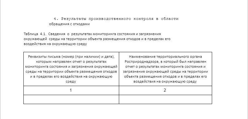 таблица 4.1 отчета по ПЭК- РЕЗУЛЬТАТЫ ПРОИЗВОДСТВЕННОГО КОНТРОЛЯ В ОБЛАСТИ ОБРАЩЕНИЯ С ОТХОДАМИ